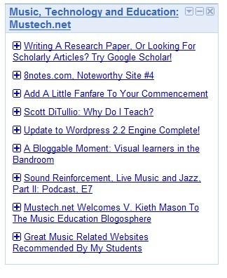rss igoogle final music technology education